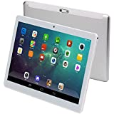 KUBI 3G Touch Tablet 10 inch - Android 7.0-4G RAM + 64GB ROM - 800 x 1280 HD - Dual SIM Card Slots - Dual Camera - Bluetooth - WiFi Kids Adults (10 inch, Silver)