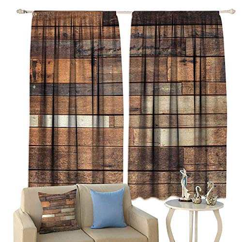 fengruiyanjing Wood Print, Window Curtain Drape, Rustic Floor Planks Digital Printed Grungy Look Farm House Country Style Walnut Oak Grain Image, Customized Curtains,(W63 x L45 Inch, Brown