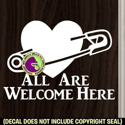 SAFETY PIN ALL WELCOME Front Door Storefront Love Heart Vinyl Decal Sticker - Stores Mall College