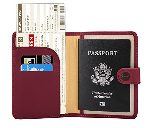Zoppen Rfid Blocking Travel Passport Holder Cover Slim Id Card Case, 7 Wine Red/Burgundy