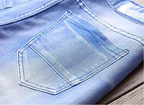 Blau Locomotiva Modo Slim Cotton Giovane Primavera Foro Nuovo Jeans Di Dritto Del Elodiey Svago Denim Lavati Pantaloni Estate Z8nOAT