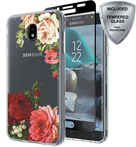 Samsung Galaxy J7 2018/J7 Aero/J7 Top/J7 Refine/J7 Eon/J7 Star/J7 Crown/J7 Aura case with Tempered Glass Screen Protector, ChangeJ Shock Absorption Slim Clear Flower case