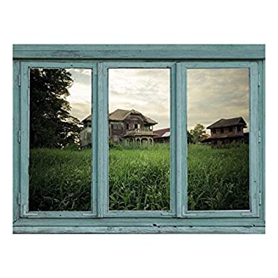 an Aging House on a Hill overlooks Field of Overgrown Grass - Wall Mural, Removable Sticker, Home Decor - 36x48 inches