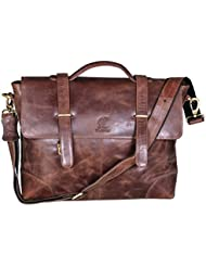 cuero 16 Vintage Leather Messenger Satchel Laptop Leather Briefcase Bag for Men and Women Genuine Buffalo Leather...
