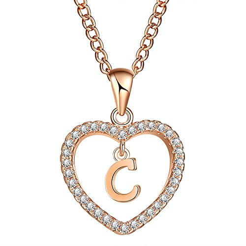 (FineMe Initial Heart Necklace Letter A-Z Necklace Heart Love Necklace CZ Cubic Zirconia Pendant for Women Girls)