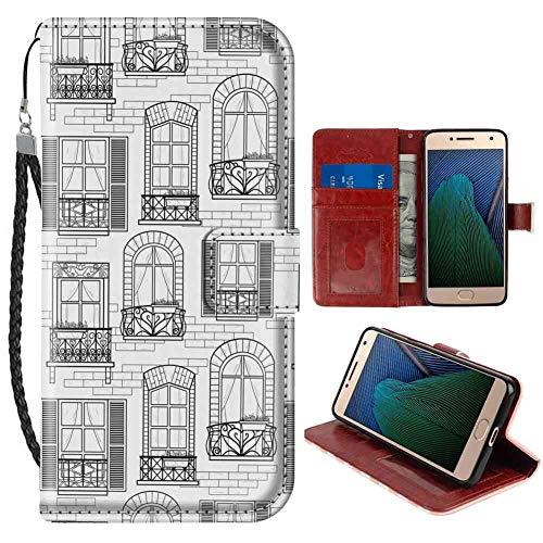 European Id Window - Geometric Apartment Building Urban Architecture European Windows City Town Illustration Grey White Pattern Wristlet Wallet Case Fits for Moto G5 (2017) Protective Case
