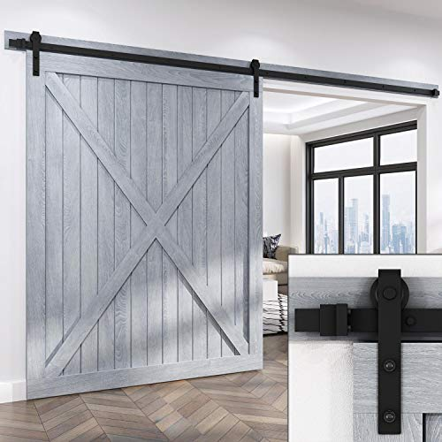 EaseLife 12 FT Heavy Duty Sliding Barn Door Hardware Track Kit - DIY Easy Install | Ultra Sturdy and Sliding Smooth Quiet | J Shape Hanger (12ft Track Single Door Kit)