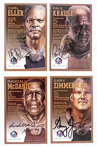 Pro Football Hall of Fame Minnesota Vikings Set of 4 Signed Bronze Bust Set Autographed Cards (Limited Edition Only 150 Produced) Carl Eller, Paul Krause, Randall MCDANIEL, Gary Zimmerman