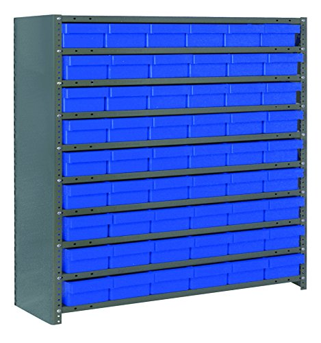 Quantum Storage Systems CL1239-401BL Closed Shelving System with Super Tuff Euro Drawers, 54 QED401 Shelf Bins, 12