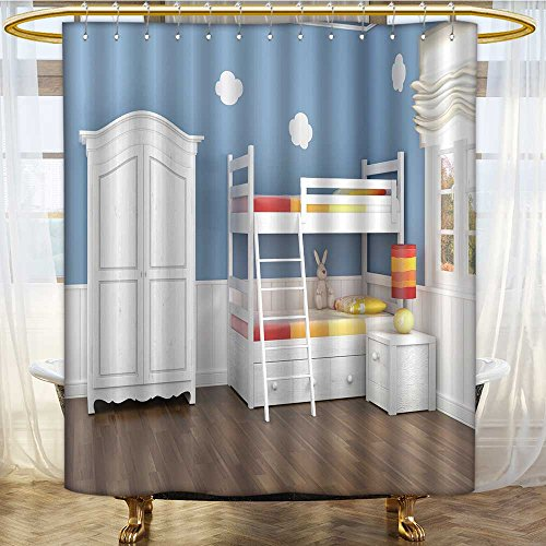 AmaPark Shower Curtain Liner children s bedroom in blue walls with bunk bed and wardrobe Machine ()