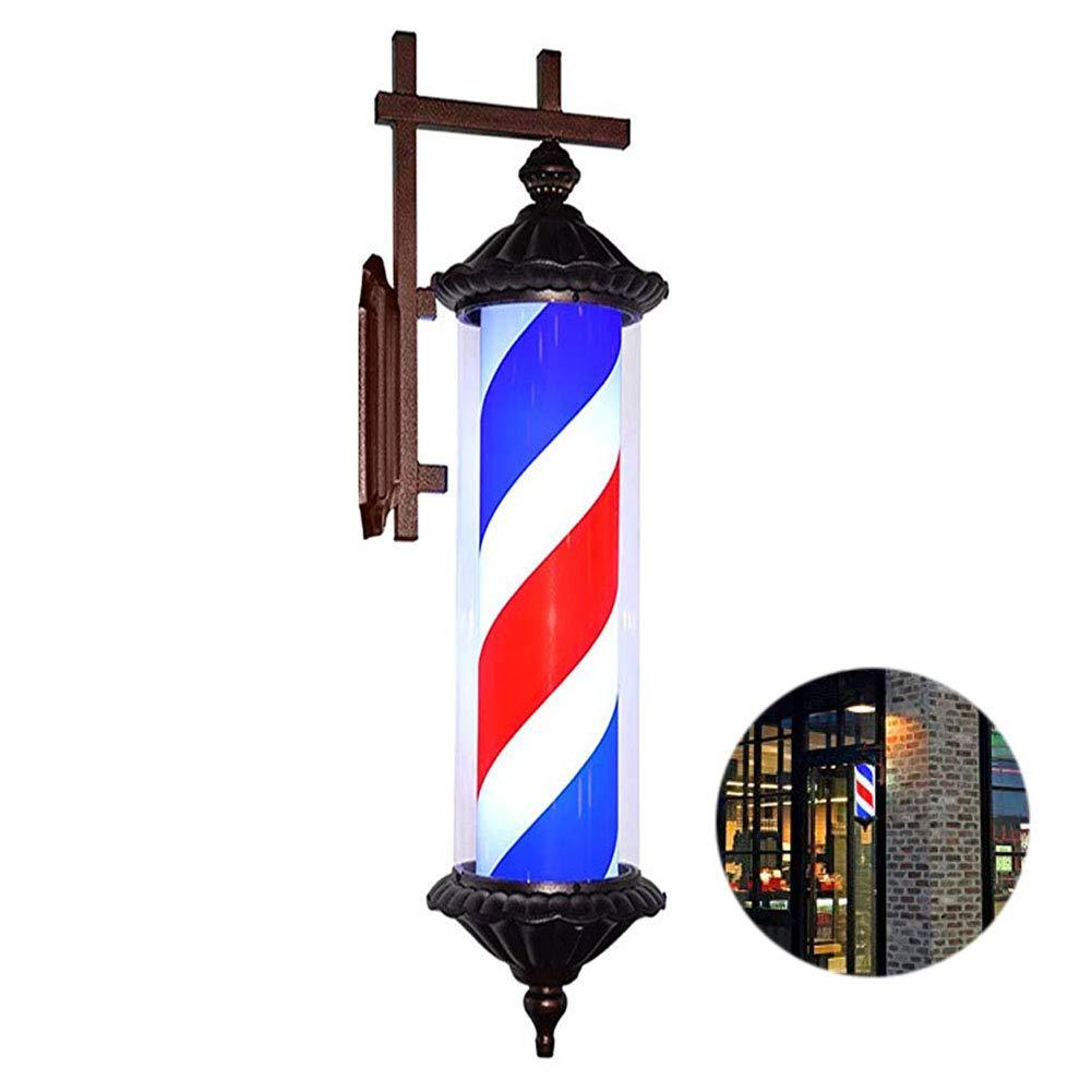 YUUK%J 30 palo del Barbiere Retro Hair Salon Barbiere Open Sign rossoante E Illuminato Strisce Bianche Bianche Rosse, Lampada da Parete per Esterno Impermeabile,A