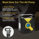 OKWINT Portable DC Tire Air Compressor Pump, Auto Digital Tire Inflator 12V Tire Pump Car, Truck, Bicycle Balls 3 Modes Function LED Lighting