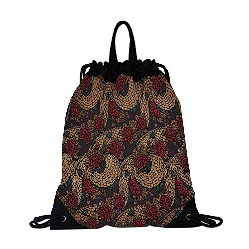Asian Canvas Drawstring Bag,Traditional Ancient Design Roses and Dragon Eastern Chinese Pattern for Shopping Travel,One_Size
