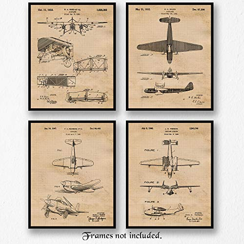 Poster Aviation Art (Original Vintage Airplane Patent Art Poster Prints - Set of 4 (Four Photos) 8x10 Unframed - Great Wall Art Decor Gifts for Home, Office, Studio, Garage, Man Cave, Pilot, Airport, Aviation Fan)
