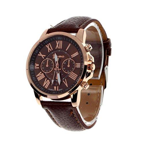 Tenworld Women Lady Girl Gift Analog Quartz Faux Leather Wrist Watch (Brown)
