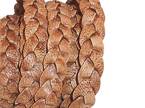 cords craft 10mm 3 Ply Flat Braided Genuine Leather Cord, Tan Color, Hand Braided, Roll of 2 Meters