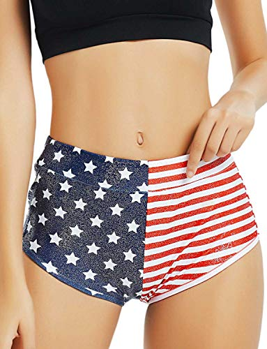 USA Flag Metallic Booty Shorts for Women 4ht July Sparkly Patriotic Rave Clothes -