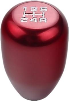 DEWHEL JDM Universal 5 Speed Manual Shift Knob M10x1.5 Screw On Red