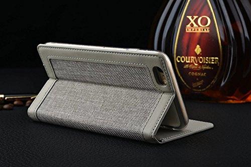 JIALUN-carcasa de telefono iPhone 6s 6 cubre el modelo envuelto de cuero de lino de color mixto caja de la cartera de cuero de la PU con el caso del soporte de la ranura para tarjeta de efectivo para  Gray
