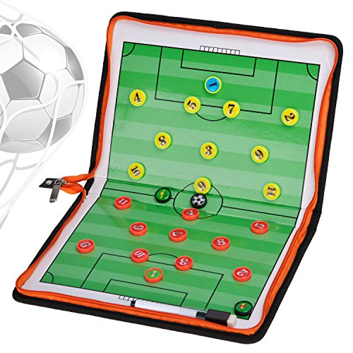 Covvy Football Soccer Magnetic Tactic Board Coaching Board Foldable Winning Strategy Board with Marker for Football Training Equipment (36 Tools in 1)