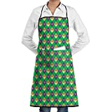 Mardi Gras Fleur De Lis Cooking Kitchen Aprons With Pockets Bib Apron For Cooking, Baking, Crafting, Gardening, BBQ