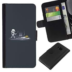 LECELL--Cuero de la tarjeta la carpeta del tirón Smartphone Slots Protección Holder For HTC One M7 -- Tormenta divertido Tropa --