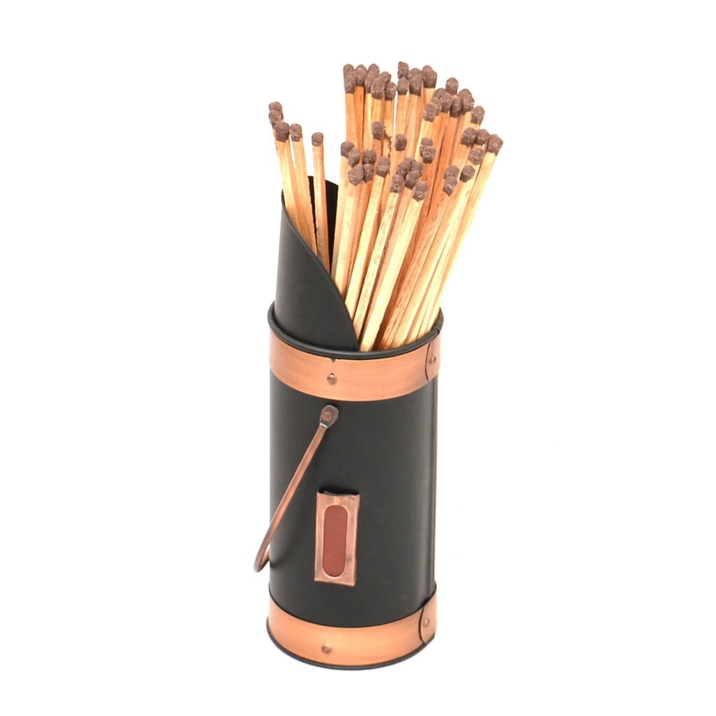 Black and Copper Fireside Match Stick Holder with Extra Long Safety Matches Dibor