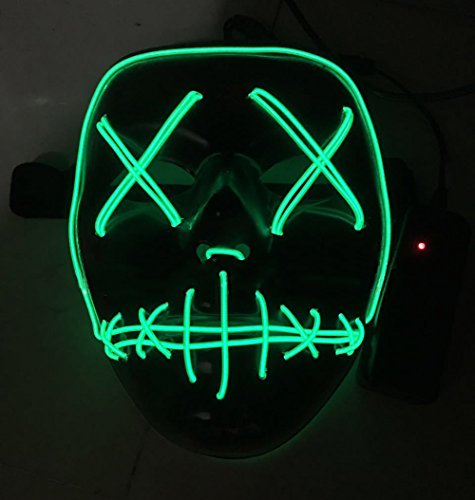 Led Light Up Mask For Halloween Christmas Glowing Mask Horror Grimace Carnaval Party Club Bar Dj Cosplay Glowing Unisex Full Face Masks (Green)