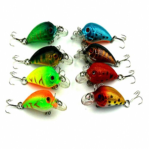 Maoko 8pcs Crankbaits Lures for Bass Trout Floating Topwater 1.77in/0.16oz