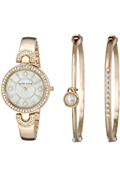 Anne Klein Women's AK/1960GBST Swarovski Crystal-Accented Gold-Tone Bangle Watch and Bracelet Set
