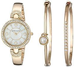 Anne Klein Women's AK/1960GBST Swarovski Crystal Accented Gold-Tone Bangle Watch and Bracelet Set
