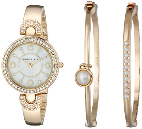 Anne Klein Ladies Crystal - Anne Klein Women's AK/1960GBST Swarovski Crystal-Accented Gold-Tone Bangle Watch and Bracelet Set