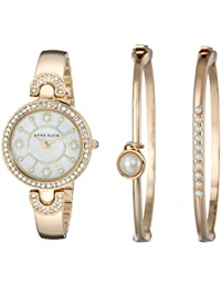 Women's AK/1960GBST Swarovski Crystal-Accented Gold-Tone Bangle Watch and Bracelet Set