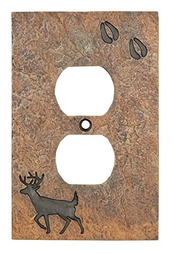 Big Sky Carvers B5050108 Deer with Tracks Single Outlet Cover,