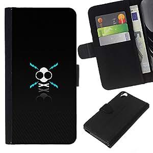 YiPhone /// Tirón de la caja Cartera de cuero con ranuras para tarjetas - X Cráneo - HTC Desire 820