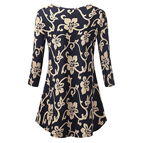 Damen Rundhals Leopard Locker Bluse Tunika Top Langärmelig Party Pullover Hemd
