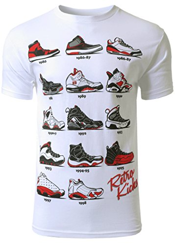 Mens Hipster The Retro Kicks Cute Print T - Shirt, White, Large by Rstrict & General