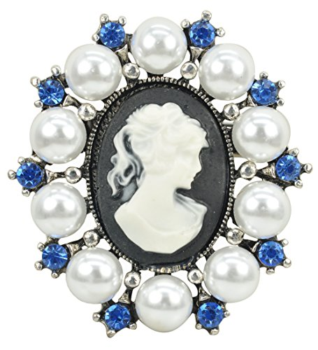 Gyn&Joy Antique Silvery Tone Simulated Pearl Blue Crystal Vintage Cameo Lady Brooch Pin