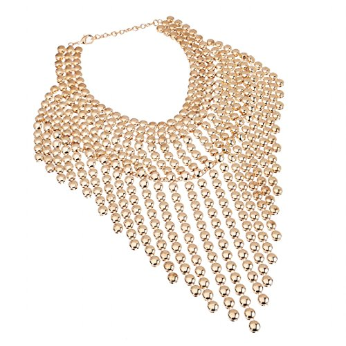 (Jerollin Fashion Spray Paint Gold Tone Tassel Beads Bib Cluster Statement Pendant Necklace)