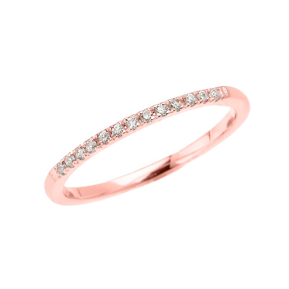14k Rose Gold Dainty Diamond Stackable Ring(Size 9)