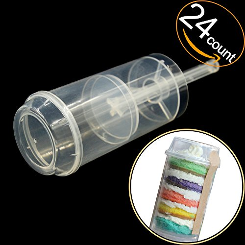 EKIND Clear Push-Up Cake Pop Shooter (Push Pops) Plastic Containers with Lids, Base & Sticks, Pack of 24 by EKIND (Image #8)'