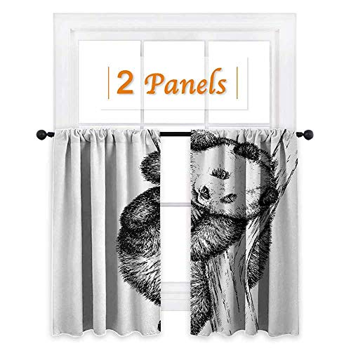 maisi Animal, Window Curtain Fabric, Cute Little Panda Bear on Tree Branch Fury Tropical Jungle Zoo Sketchy Print, for Sliding Glass Door (W84 x L72 Inch) Black and White