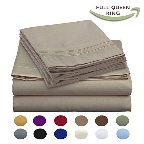 Luxury Egyptian Comfort Wrinkle Free 1800 Thread Count 6 Piece King Size Sheet Set, BEIGE Color, 2 Bonus Pillowcases FREE!