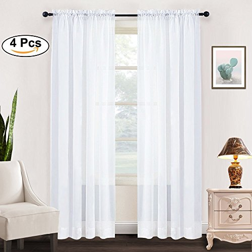 4 Panels Sheer Drapes for Small Window - RYB HOME Rod Pocket Elegant Thick Voile Drapes Curtains Set for Babies, 4 Pieces, Width 60 by Length 45 Inch, White (Curtain 45 Sheer Panels)