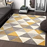 Well Woven Isometry Gold & Grey Modern Geometric Triangle Pattern 7'10' x 9'10' Area Rug Soft Shed Free Easy to Clean Stain Resistant