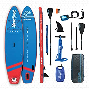 Image of aquaplanet 10ft 6' x 15cm PACE Stand Up Paddleboard - Incl: SUP, Hand Air Pump w/Pressure Gauge, Adjustable Aluminum Floating Paddle, Repair Kit, Rucksack, Coiled Leash & 4 Kayak Seat Ring Fittings Stand-Up Paddleboards