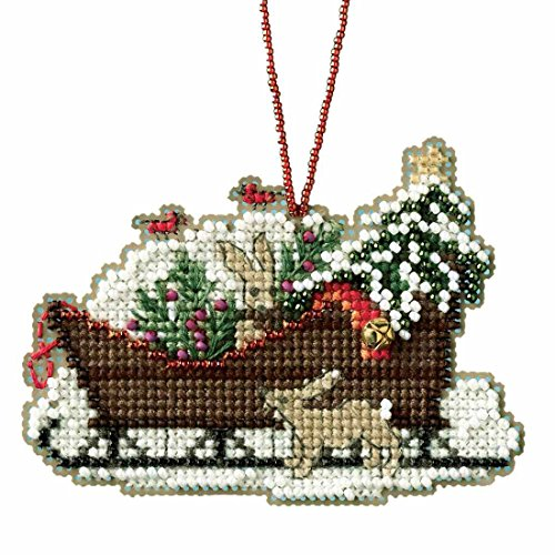 Woodland Sleigh Beaded Cross Stitch Kit Mill Hill Charmed Ornaments 2017 Sleigh Ride (Hill Ornament)