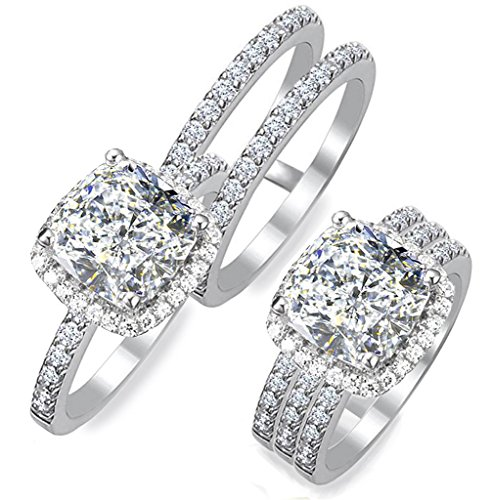 101 Facets 2 Carat Princess Cushion Cut Simulated Diamond Ring Double Band Set 925 Silver Halo Pave ()