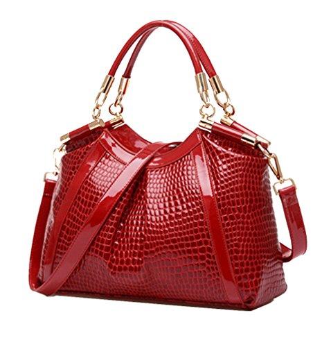 Crocodile Tote Pattern Handbag (Yan Show Women's Patent Leather Shoulder Bags Crocodile Pattern Totes Handbags)