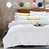 overstock duvet cover  King Duvet Cover Set, 3 Piece - 1200-Thread-Count Hotel Luxury Microfiber Down Comforter Quilt Bedding Cover with Deco Buttons, Zipper, Ties - Best Modern Style for Men and Women, White